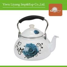 3.2L White Color Apple Shaped Enamel Teapot Black Bakelite Handle Water Kettle Flower Decal Enamel Drinkware