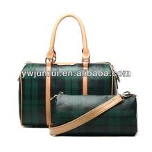 fashion set style bag classic black green grain design tote handbag for women