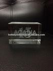 custom crystal block with 3D logo laser for business souvenir