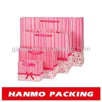custom printing pink paper bag gift bag with ribbon and handle