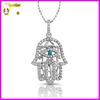 Hand of fatima hamsa pendant custom hamsa charm necklace with turquoise bead