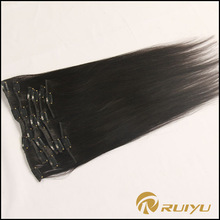 AAAAAA grade natural color clip in remy hair extensions 200g