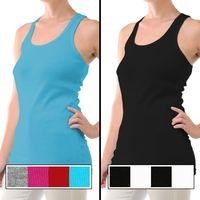 4pk Womens Ribbed Cotton Favorite Tank Tops Slim Long Lean Fit layering top