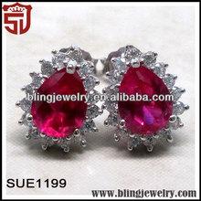 China Factory Exotic Ruby Big Gemstone Earrings