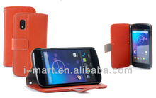 Book Leather Case for Google Nexus 4 Orange