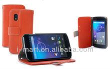 Book Leather Case for Google Nexus 4 Orange