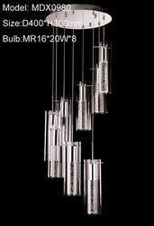 Modern crystal column glass shade ceiling lamp