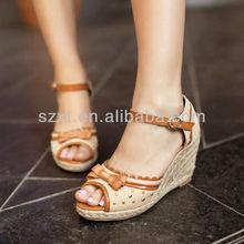 hot latest new desifn sexy fancy bow rivet peep toe hemp rope jute wedge heel women sandals buckle strap sandals