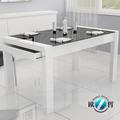 de alto brillo moderno de madera de base superior de cristal templado mesa de comedor con cajón