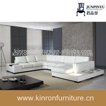 Couro branco em forma de l sofá conjunto/moderna sofá de lether/usado sofá do hotel