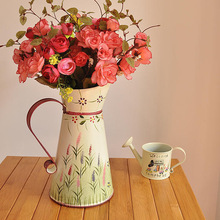 Pastoral style hand-painted floral vase is inserted metal home accessories gifts B0305