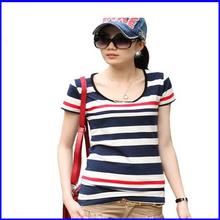 wholesale ladies' cheap plain summer popular striped women t shirt