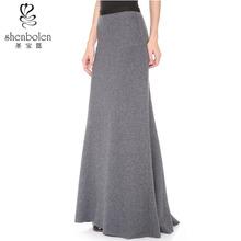 High waist wool pleated skirt long wool skirt long skirt wholesale in China