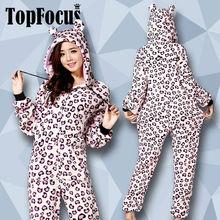 Fleece Evening Long Sleeves Pink Leopard Plus Size Sexy Animal Ears Men One Piece Women Jumpsuit