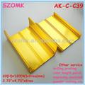 ouro anodizado de extrusão de alumínio recinto caixa