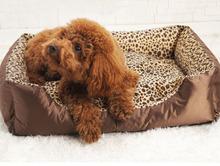 Luxury leopard square shape pet dog bed wholesale