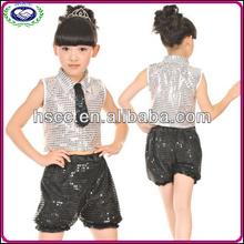modern tarzı paillette çocuk kız rekabet hip hop caz dans kostümleri çocuk balo salonu dans giyim