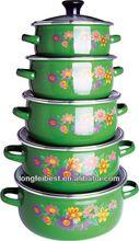 5pcs dark color enamel casserole set,glass lid,enamel ring handle