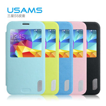 USAMS mobile phone leather case cover for samsung s5 hottest smart phone