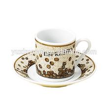 wholesale 80cc ceramic cups and saucers, coffee bean design