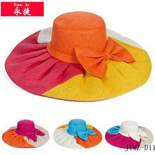 2014 moda guarda sol chapéus bowknot por atacado de decoração chapéus de palha