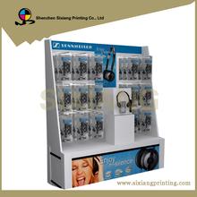Custom design 4 color printing cardboard pos display headphone stand