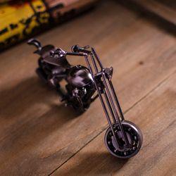 Iron retro ornaments textured metal sliding rotating metal motorcycle model black B0727