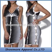 Style Number W111 latest dress designs photos black white strip women ladies casual dresses