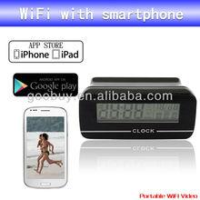 2014 wifi clock camera, support Iphone and Andriod phone, free APP alarm clock hidden camera