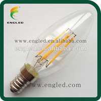 230V 2W 360 degree Glass body E14 E27 Dual COB Filament LED bulb