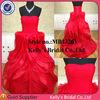 2014 new arrival red scoop neckline ruffle sweep train long chiffon evening dress
