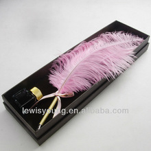Ostrich feather pen, wedding favors for guests, feather quill pen gift set
