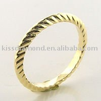 Simple Gold Plated Band Design No Stone Ring