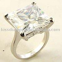 925 Silver Lead Free Princess Cut White CZ Ring