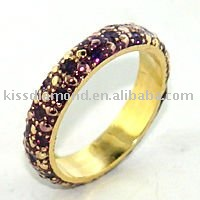 Gold Plated Colorful Crystal Band Ring