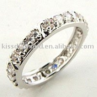 925 Silver Simple White CZ Band Finger Ring