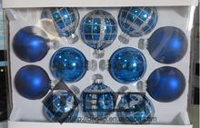 65MMX12CT GLASS BALL CHRISTMASS ORNAMENT FOR HOME DECORATION-SILVER BLUE ASST