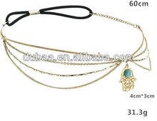 2014 Fatima Hamsa Hand Head Piece Chain Hair Jewelry,Head Chain Head Piece Head Hair Accessories,Headgear Hair Jewelry Hair Band