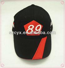 Crazy No square 3D embroidery logo red sandwich&tranship peak black sportscap