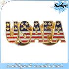 2014 Promotional and cheap item brass enamel badge,gold emblem,american badge
