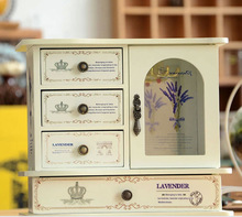 ewelry box zakka wooden boxes Dressing cassette of restoring ancient ways makeup mirror box C6022 in Europe and America