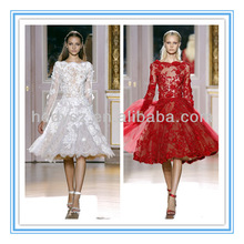 HD881 Latest Red Organza Long Sleeve Girls Zuhair Murad Cocktail Dresses