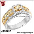 alibaba expressar itália branco e amarelo novo design 925 anéis de prata