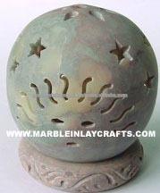 Pietra ollare naturale supporto di candela, pietra supporto di candela
