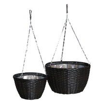 Wicker Planter Poly Rattan With Steel Hanging Planter