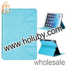 Simple And Plain Cross Pattern Full Body Flodable Stand PU Leather Shell Case for iPad Mini 2 Retina