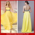 Oc-2325 mais recente estilo africano vestidos de noite 2014 país estilo vestido vestido amarelo tamanho plus