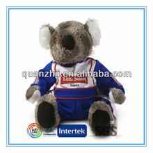 Custom plush koala with race suit