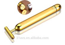 24K Gold T Shape Face Slimming Vibration Massage Pen for home use