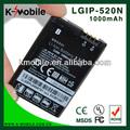 1000 mah de la batería de litio para el LG 520N del teléfono celular GD900 BL40